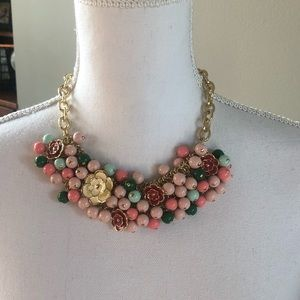 Talbots floral gold and enamel necklace NWT